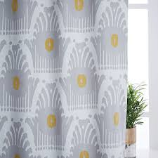 stamped ikat linen cotton curtain blackout lining frost gray
