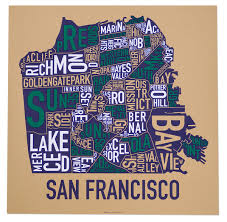 san francisco map san francisco neighborhood map 22 x 22 multi color screenprint