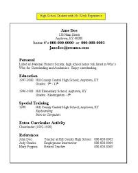 work experience resume high school resume no work experience menu and resume