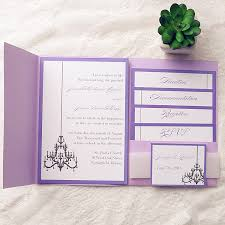 pocket invitations purple chandelier pocket wedding invitation kits ewpi139