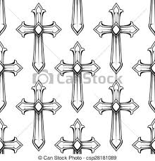catholic crosses seamless pattern with vintage catholic crosses vintage vector