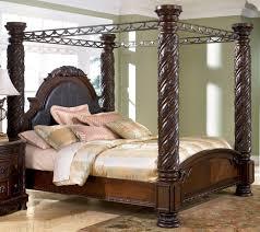 Metal Canopy Bed Frame Furniture Carved Brown Wooden And Metal Canopy Bed Frame With
