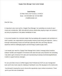 supply chain manager cover letter example supply chain manager