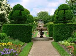 Yew Topiary - nymans garden 2006 wall garden summer borders and yew topiary