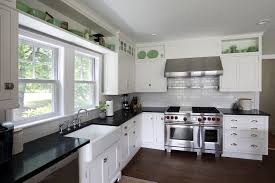 White Kitchen Cabinets With Gray Granite Countertops White Kitchen Cabinet Grey Tile Pattern Ceramic Backsplash