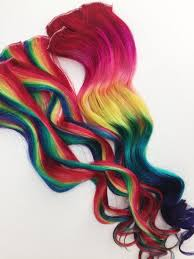 clip in hair extensions for hair rainbow human hair extensions colored hair extension clip