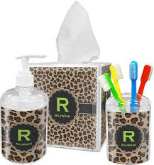 granite leopard bathroom accessories set personalized potty