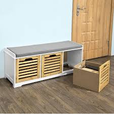 details about entryway shoe storage with 3 drawers bench cabinet