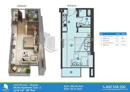 Floor Plan Studio Type Azizi Riviera In Dubai