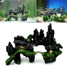 aquarium tree house mountain view cave bridge fish tank ornament