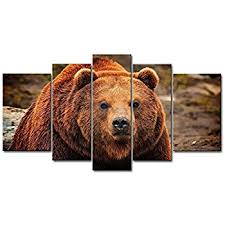 Bear Decorations For Home Amazon Com Brown 5 Piece Wall Art Painting Grizzly Bear Prints On
