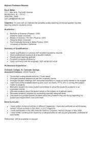 Sample College Professor Resume Adjunct Faculty Description Resume 28 Images Sle Resume For