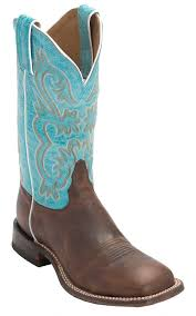 womens quill boots tony lama s americana worn brown with turquoise top square