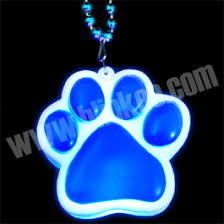 light up blue paw print charm necklace animals