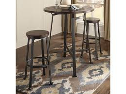 Pub Table Set Signature Design By Ashley Challiman 3 Piece Round Bar Table Set
