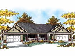Multi Family Home Designs Easy To Build Duplex Hwbdo14228 Ranch Multi Family House Plan From