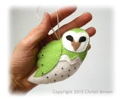 snowy owl felt christmas tree ornament softie pattern sew your