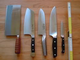 cold steel kitchen knives review file four chef s knives and an paring knife jpg wikimedia commons