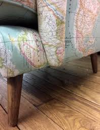World Map Fabric by Wing Armchair World Map Fabric