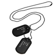 tag chain necklace images Men black military army 2 dog tags chain pendant necklace n045 JPG