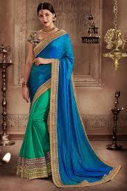 color designer striking blue green color designer half half saree with embroidery