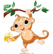 clip art of a cute little monkey hanging from a branch with a