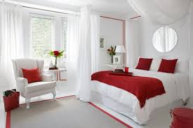 Bedroom Design Ideas With Bay Windows Lovely Romantic Bedroom Decor With Red Pillows And Wing Back