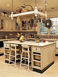 kitchen island pot rack lighting elements with the dried wreaths flowers and baskets