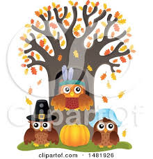 clipart of a of thanksgiving owls at a tree royalty free