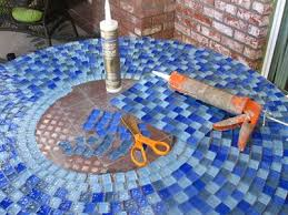 Mosaic Patio Table Top by Build An Outdoor Table With Tile Top And Steel Base Coloured