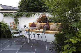 courtyard design with wooden and metal seating idea for awesome