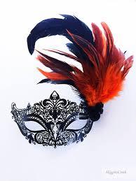orange mardi gras burnt orange feather masquerade mask orange mask