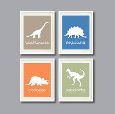 Kids Room Prints by Dinosaur Art Print Set Of Four 8x10nursery By Gatherednestdesigns