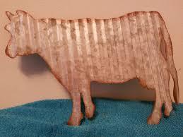 Cow Home Decor Primitive Rustic Corrugated Metal Farm Cow Home Cabin Decor 11 5