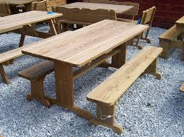 6 u0027 picnic table w separate benches cl amish yard