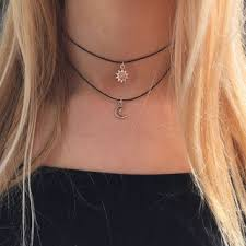 black double choker necklace images Best silver sun and moon necklace products on wanelo jpg