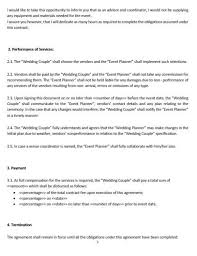 wedding planning services ne0268 wedding planning service letter of agreement template
