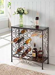 console table with wine storage amazon com black metal six 6 shelf kitchen bakers rack console