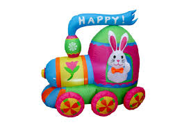 bzb goods easter inflatable bunny with bow tie on train decoration