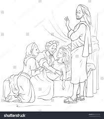 miracles jesus raising jairus daughter christian stock vector