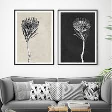 set of 2 modern botanical art prints floral prints minimalist