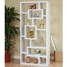 amazon com modern white finish unique wood bookcase display