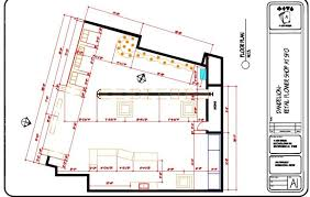 dimensioned floor plan airport retail store