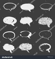 set cute hand drawn speech bubbles stock vector 491493475