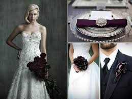ivory beaded romantic wedding dress deep purple and black wedding