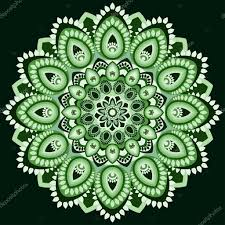 mandala in shades of green east ethnic design oriental pattern