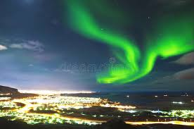 reykjavik iceland northern lights northern lights above reykjavik iceland stock image image of