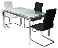 Black Leather Chairs And Dining Table Rectangle Modern Expandable Glass Dining Table Set With Stainless