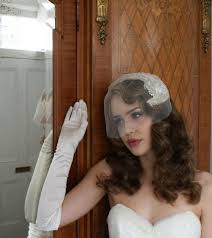 bridal headpiece and tulle blusher veil art deco style silver