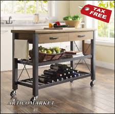 santa fe kitchen island cart with wine rack metal and wood 4